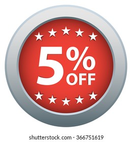 5 % Off. Shopping Sale Discount Badge in Red. Vector illustration.