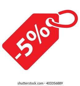 -5% Off tag. Red color. Isolated. Vector illustration.