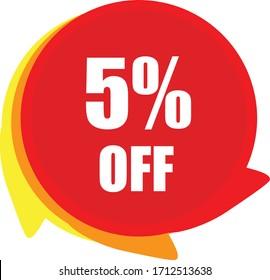 5% Off vector graphics, 5% Off  sticker
