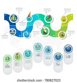 5 Parts infographic design vector and marketing icons can be used for workflow layout, diagram, report, web design. Business concept with options, steps or processes.