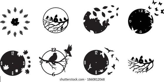 5 Pattern Set Clock Watches Bird Decor plasma waterjet laser cut CNC File Art | Dxf, Svg, Max, Cdr, Eps, FBX, AI, 3DS |Set 108|