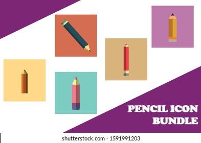 5 Pencil Icon Bundle Vector Design