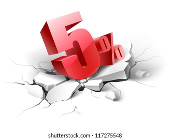 5 percent discount icon on white background