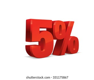 5 percent off, sale background, object 3D. Eps10 Vector.