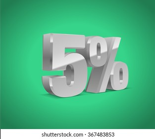 5% percent off, sale green background, silver-gray object 3D. Eps10 Vector.