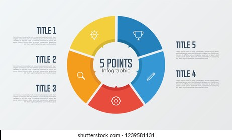 5 points, options, parts, processes, work flowsteps, steps infographic element circle shaped vector. business presentation template.