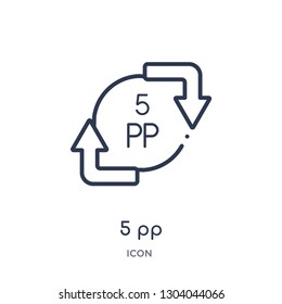 5 pp icon from user interface outline collection. Thin line 5 pp icon isolated on white background.
