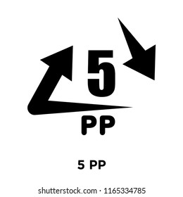5 PP icon vector isolated on white background, 5 PP transparent sign , warning symbol