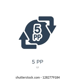 5 pp icon vector on white background, 5 pp trendy filled icons from UI collection, 5 pp vector illustration
