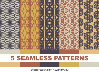 5 Retro different vector seamless patterns (tiling). Endless texture can be used for wallpaper, pattern fills, web page background,surface textures. Set of monochrome geometric ornaments.