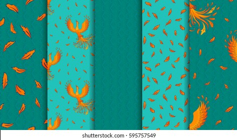 5 seamless patterns with fire-bird Phoenix and feathers. Create background for greeting card, invitation, poster or decorate your web page. Perfect for wrapping paper, packaging, scrap booking.