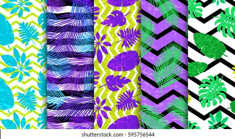 5 seamless patterns with tropical foliage. For cards, posters, invitations, party decorations, packaging paper, scrap booking, textile, shower curtains, duvet covers, pillows, web backgrounds.