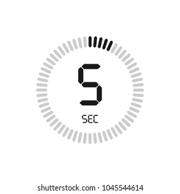 The 5 seconds, stopwatch vector icon. Clock and watch, timer, countdown symbol.