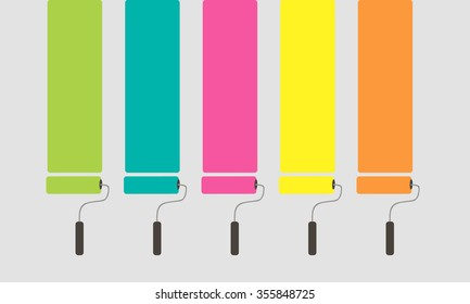 5 Set of colorful paint roller brushes. vector illustration