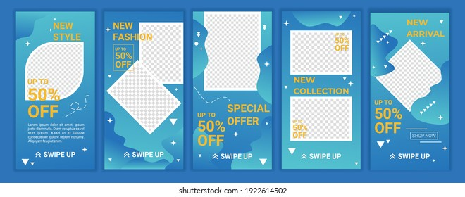5 set modern wave fluid background template with gradient with blue gradation color for promotion, social media post, stories, story, internet web banner, flyer, poster and brochure. Vector