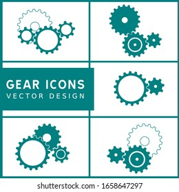 5 sets of green mechanical gear icons on white background. Vector illustration.