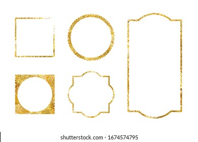 5 shiny golden vector frames. Great for banners, invitations, cards. Easy to use in your designs!