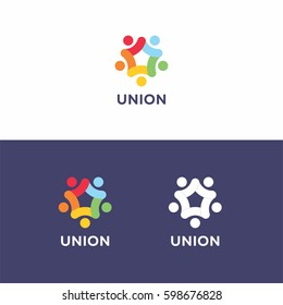 5 sided colorful star union logo icon template concept for organization company.