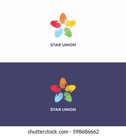 5 sided colorful star union logo icon template concept with hands for organization company.
