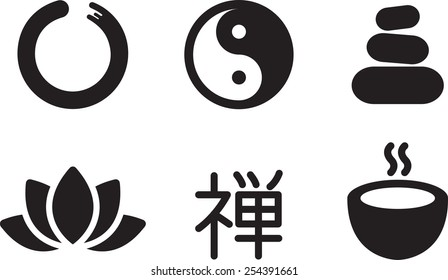 """5 simple style oriental icons isolated on white background. Chinese hieroglyph Chan, or Zen, translates as """"meditation""""."""