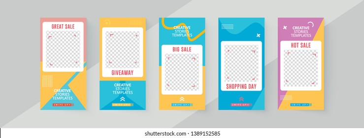 5 Slides social networks stories design, vertical banner or flyer templates. Set of minimalistic stories for social media.