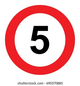 5 speed limitation road sign on white background