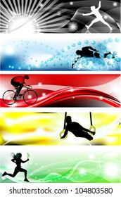 5 Sports (fence, swimming, bike, gym, athletics) banner with five brilliant colors