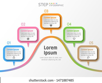 5 stage steps process bell curve shape color graphic elements infographic,vector illustration.