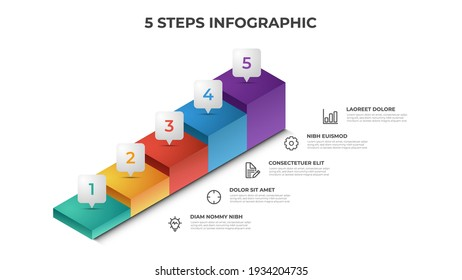 5 stairs steps infographic element template vector, layout design for presentation, diagram, etc