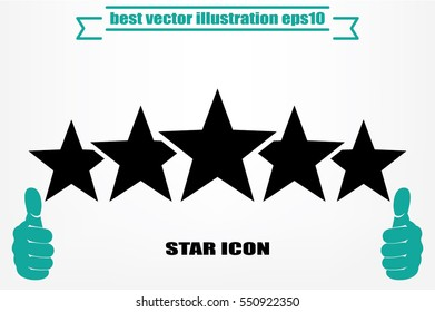 5 star icon vector illustration eps10. Isolated badge for website or app - stock infographics