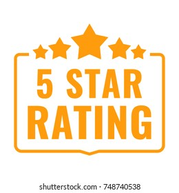 5 star rating. Badge with icons. Flat vector illustration on white background.