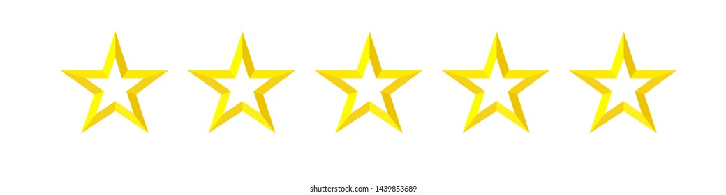 5 star rating, facet icon. Quality sign, rank star symbol. Isolated badge for website or app vector illustration