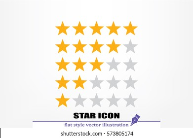 5 star rating icon vector illustration eps10. Isolated badge for website or app - stock infographics.