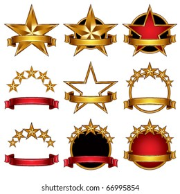 5 stars classic emblems set. Golden ribbons and stars symbols. Red and gold metallic royal style.