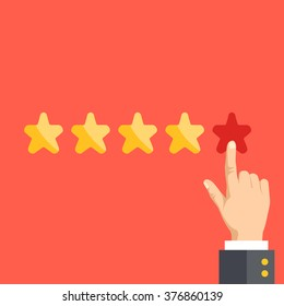 5 stars. Positive feedback, best quality concept. Flat illustration, flat design graphic for websites, web banners, web and mobile apps, infographics, printed materials. Modern vector illustration