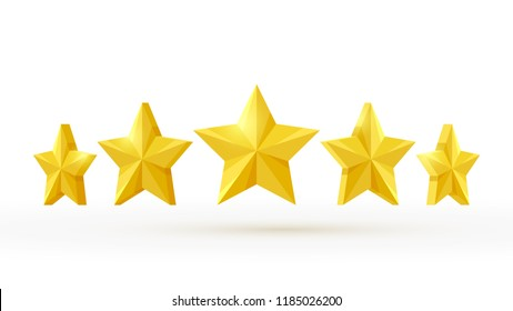 5 stars realistic 3d background.  Rating icon design vector illustration.
