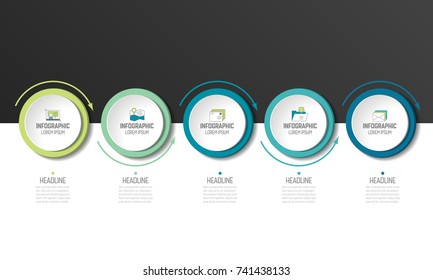 5 step Infographic. Circles with arrows. Template, diagram, graph, milestone, chart, presentation, infograph.