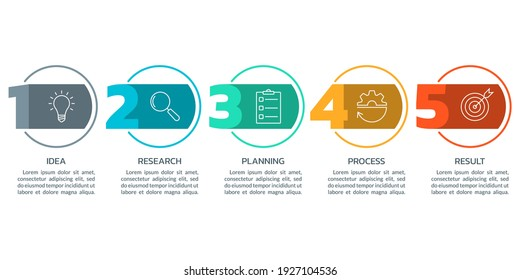 5 steps info graphic with numbers and business icons. Modern business process design. Timeline infographic, presentation, workflow layout template. Vector illustration.