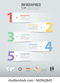 5 steps infographic template. can be used for workflow layout, diagram, number options, progress, timeline