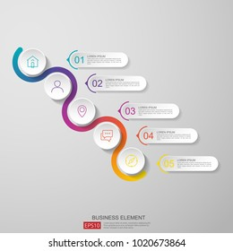 5 steps infographic. timeline design template with 3D paper label, integrated circles. Business concept with options. For content, diagram, flowchart, steps, parts, workflow layout, chart