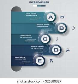 5 steps process. Simple&Editable abstract design element. Vector.