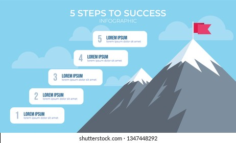 5 steps to success with mountain illustration, infographic element vector, can be used for describing how to reach goal, how to be succesful people, etc.