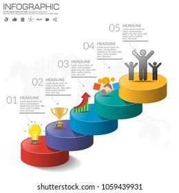 5 Steps timeline infographic design vector and icons can be used for workflow layout, diagram, report, web design. Business concept with options, steps or processes.
