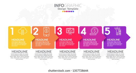 5 Steps timeline infographic design vector and icons