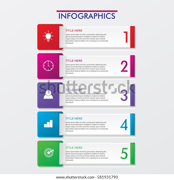 5 Steps Timeline. Modern Business Infographics.Label, Concept, Layout Vector Design