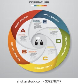 5 steps vector circle arrows for infographic. Template for diagram. EPS10
