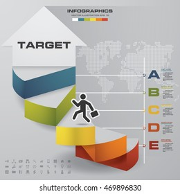 5 steps/levels/charts Infographics vector in arrow shape template. grey map background. EPS10. with set of business icons.