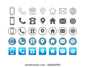 5 Style Contact information Icon in Vector Format , all are 35 icons