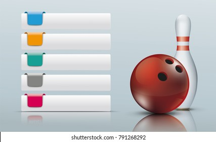 5 Tabs with colored markers, bowling pin and red bowling ball. Eps 10 vector file.