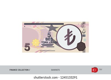 5 Turkish Lira Banknote. Flat style highly detailed vector illustration. Isolated on white background. Suitable for print materials, web design, mobile app and infographics.